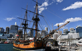 A replica of Captain Cook's ship 'Endeavour' is seen at the Australian National Maritime Museum in Sydney.