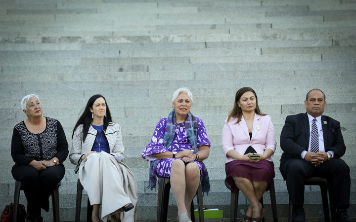 Mausina women's testimony at Parliament to commemorate the 125th anniversary of Women's right to vote in New Zealand. Left to right: Liz Mellish, Jill Day, Luamanuvao Dame Winnie Laban, Marama Davidson, Aupito William Sio.