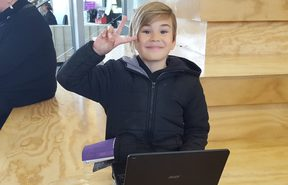 Seven-year-old Joseph Lawrence is one of the Haeata Community Campus students looking forward to accessing the internet at home under the new scheme.