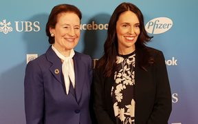 Prime Minister Jacinda Ardern, right, with UNICEF executive director Henrietta Fore in New York