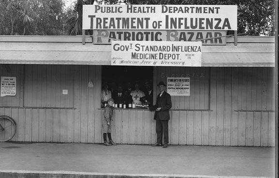 "An influenza medicine depot in Christchurch for ""poor"" people. Taken by an unknown photographer 4 December 1918."