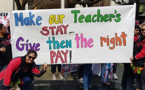 Teachers take to the streets of central Auckland.