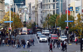 280214. Photo Todd Niall / RNZ. Auckland's Queen Street cnr Wellesley.