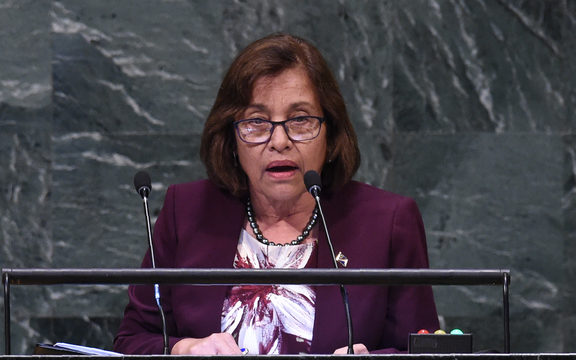 Marshall Islands' President Hilda Heine speaks at the General Assembly at the United Nations in New York.