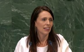 Prime Minister Jacinda Ardern delivering New Zealand's national statement at the United Nations.