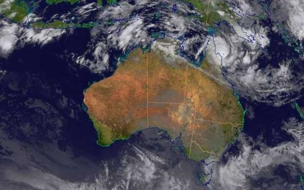 A satellite image showing Ita moving towards the far north Queensland coast on Friday.
