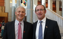 Labour MP Phil Goff, left, and leader Andrew Little at the Australian Parliament in Canberra on 25 November 2015.
