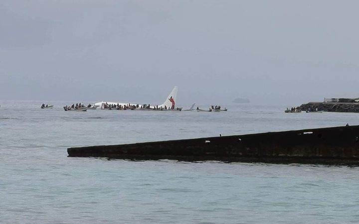 The Air Niugini plane in the lagoon off Weno airport in Chuuk