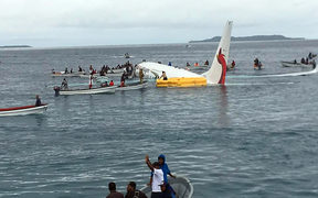 The Air Niugini plane in the lagoon off Weno airport in Chuuk.