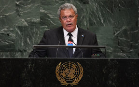 Tuvalu's Prime Minister Enele Sopoaga speaks during the General Debate of the 73rd session of the General Assembly at the United Nations.