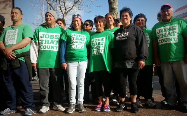 Affco workers travelled from Wairoa to Auckland for the hearing.