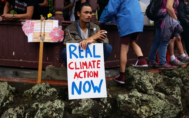Protestors at a climate march in Auckland