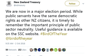 A tweet from the NZ Treasury