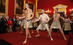 Ngāti Rānana perform a haka for the Prince of Wales and Duchess of Cornwall