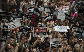Protesters occupy the Senate Hart building during a rally against Supreme Court nominee Brett Kavanaugh on Capitol Hill in Washington.