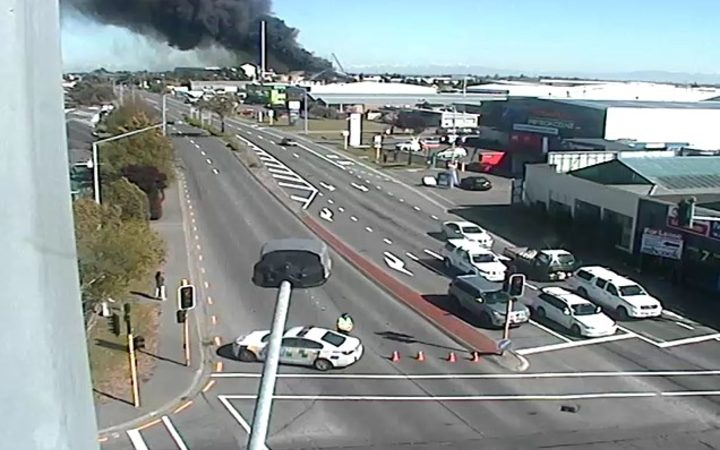The fire at a fertiliser factory in Christchurch has forced the closure of some roads in the area.