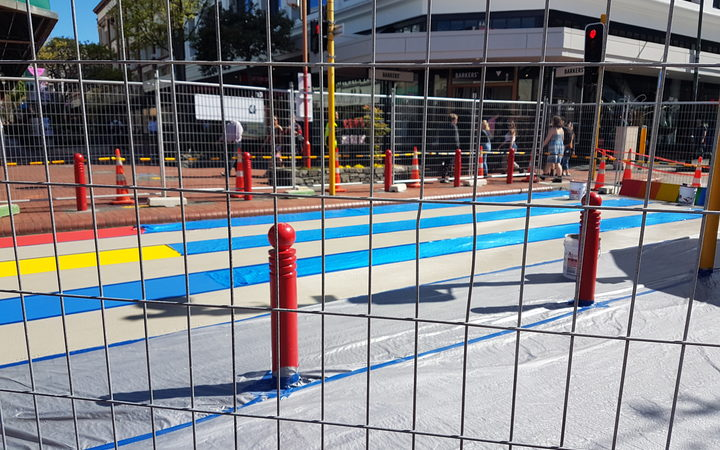The rainbow crossing in Wellington when it was being painted.