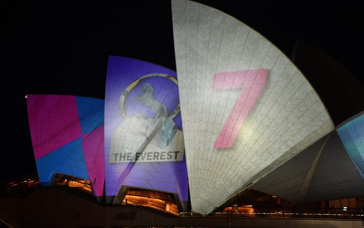 The Sydney Opera House was lit up with a controversial advertisement for a major horse race on October 9 despite days of fierce public backlash over the commercialisation of the iconic landmark