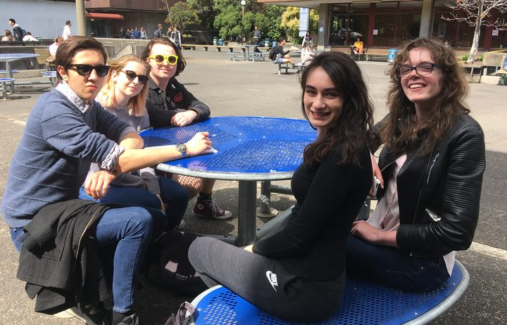 Undergraduate students at the University of Auckland: Isaac (left), Candice, Sean, Alex and Maddy.
