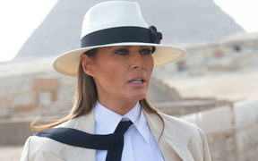 US First Lady Melania Trump tours the Egyptian pyramids and Sphinx in Giza, Egypt, the final stop on her 4-country tour through Africa.