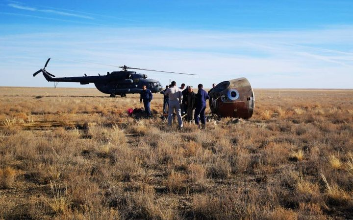 Russia's Soyuz MS-10 capsule lies on the ground after an emergency landing at a remote location in Kazakhstan.