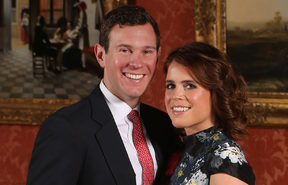 Britain's Princess Eugenie of York poses with her fiance Jack Brooksbank at Buckingham Palace after the announcement of their engagement.