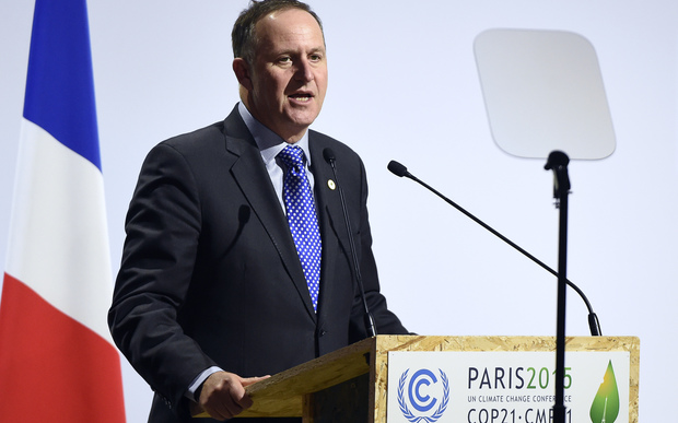 New Zealand's Prime Minister John Key delivers a speech during the opening day of the World Climate Change Conference 2015 (COP21), on November 30, 2015 at Le Bourget, on the outskirts of the French capital Paris.