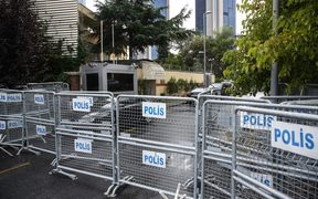 Police barricades are seen set at Saudi consulate as the waiting continues on the disappearance of Prominent Saudi journalist Jamal Khashoggi in the Consulate General of Saudi Arabia in Istanbul, Turkey.