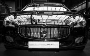 BERLIN, GERMANY - MAY 17, 2014: Executive car Maserati Ghibli (M157). Black and white. 27th Oldtimer Day Berlin - Brandenburg
