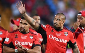 Tonga captain Sika Manu waves to the crowd after his side's semi-final loss to England at the World Cup last year.