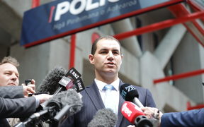 Jami-Lee Ross speaks to media after filing a complaint against National leader Simon Bridges.