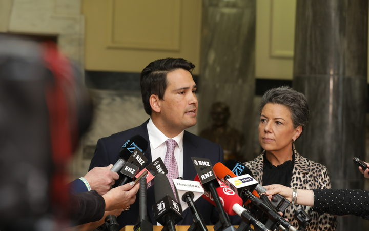 Simon Bridges speaks to media after Jami-Lee Ross released a recording of them speaking.