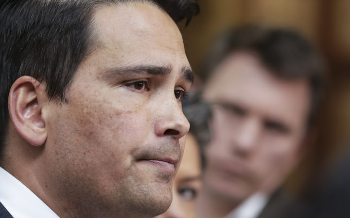 Simon Bridges talk to media after Jami-Lee Ross releases a phone call about a $100,000 donation to the National Party.
