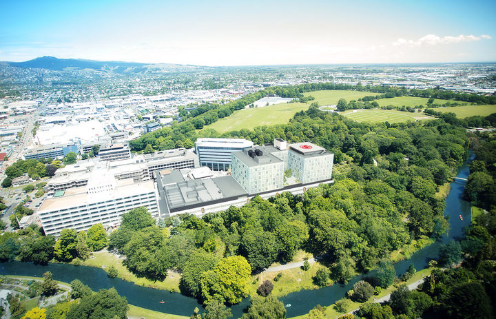 An aerial impression of the Christchurch Hospital campus.