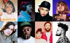 Clockwise from Top left: Tierra Whack, Tom Scott of Avantdale Bowling Club, Kira Puru, Hollie Fullbrook of Tiny Ruins, Unchained XL, Sylvan Esso, Tyler, the Creator and Bene
