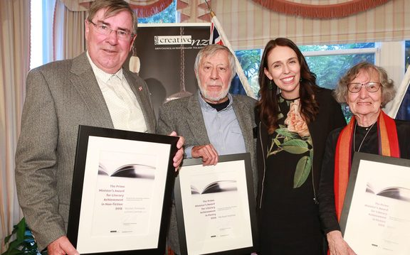 Wystan Curnow, Michael Harlow and Renee receiving Prime Minister Literary Achievement Awards.