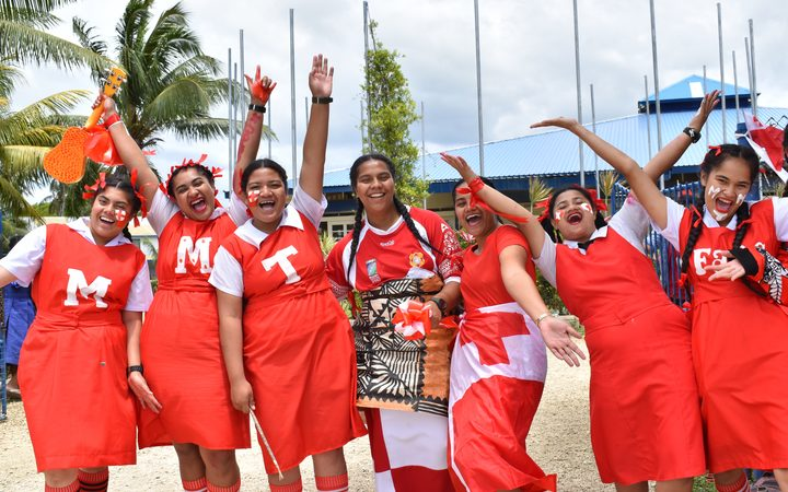 Fans from Queen Salote College show their support for Mate Ma'a Tonga, Nuku'alofa.