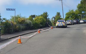 The police cordon on Clifton Road, Sumner in Christchurch.