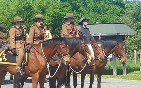 The New Zealand Mounted Rifles Charitable Trust rode through Tapawera to raise awareness of the work they're doing.