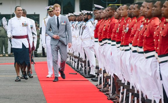 The Duke of Sussex inspected a Guard of 100 Fijian soldiers, made up of representatives from the Army and Navy, on arrival in Fiji.
