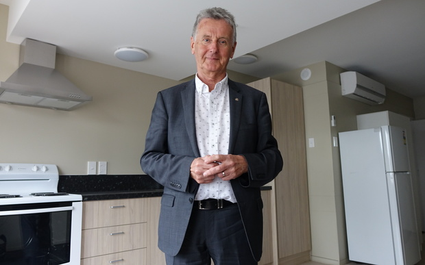 Christchurch City Missioner, Michael Gorman, in one of the missions three new tranistional apartments for homeless families.