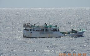 One of the vessels inspected by NZDF fisheries patrols near Samoa and Tokelau