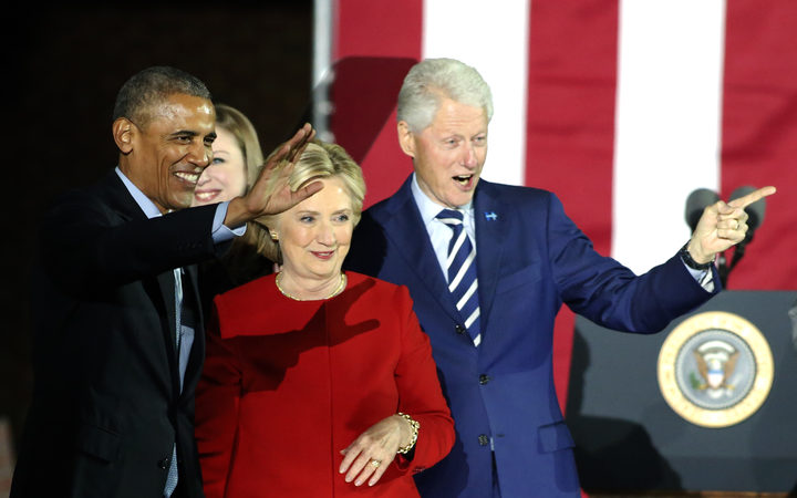President Obama with the Clintons.