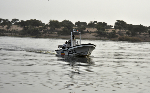 A boat of the Chadian police sails on Lake Chad which borders Chad, Nigeria, Niger and Cameroon.