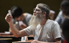 Nigel Richards competes in a category of the Francophone Scrabble World Championships in 2015.