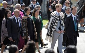 Prince Harry and Meghan, the Duke and Duchess of Sussex are, welcomed to Te Papaiouru Marae in Rotorua