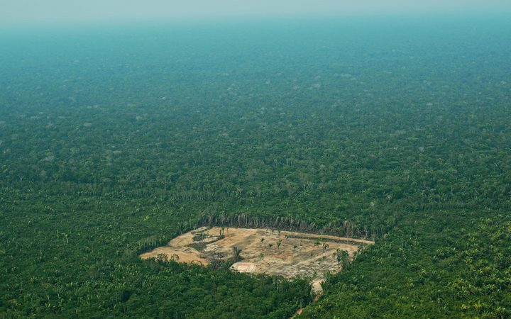 Aerial view of deforestation in the Western Amazon region of Brazil.