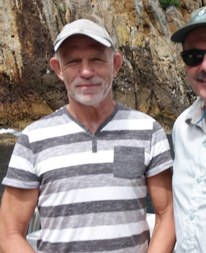 DOC chief science advisor Ken Hughey and DOC director general Lou Sanson at Poor Knights Islands.