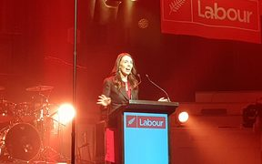 Jacinda Ardern speaking at the Labour Conference in Dunedin.