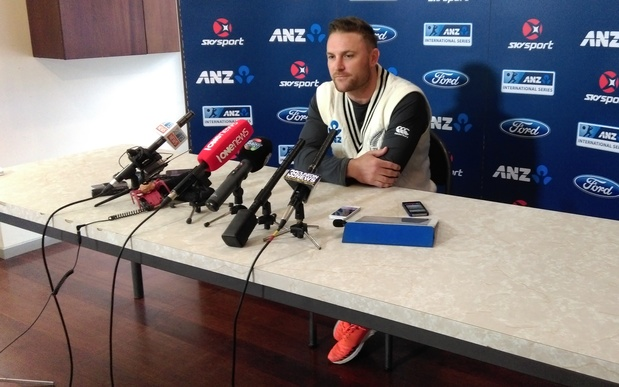Black Caps skipper Brendon McCullum during a news conference in Dunedin on 9 December 2015, where he was asked about Chris Cairns' perjury trial.